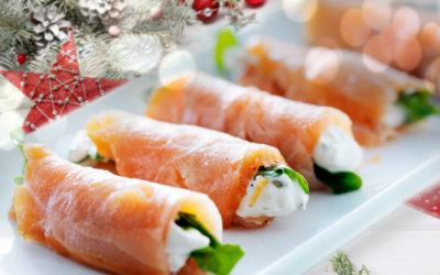 Antipasto di Natale: Rotolini di Salmone con verdurine croccanti